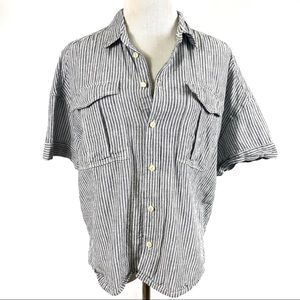 JCREW Button Down Blue Striped Short Sleeve Top